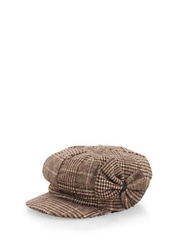 Knit Paperboy Cap with Bow - TAN - 3119067444611