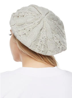 Cable Knit Beret - GRAY - 3119067444614