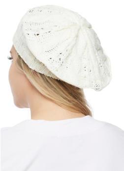 Cable Knit Beret - IVORY - 3119067444614