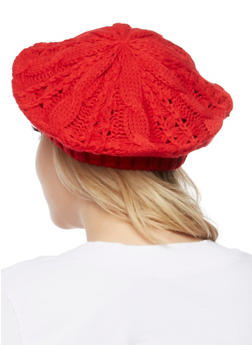 Cable Knit Beret - RED - 3119067444614