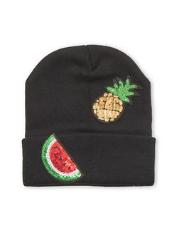 Beanie Hat with Sequin Fruit Patches - 3119067444618