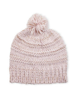Two Tone Beanie Hat with Pom Pom - 3119067444619