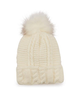 Knit Beanie Hat with Faux Fur Pom Pom - 3119067444622
