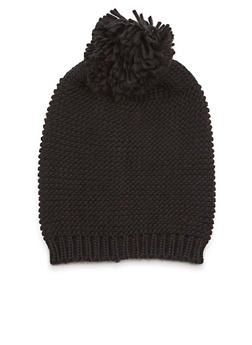 Knit Beanie Hat with Pom Pom - 3119067444623