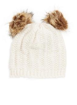 Double Pom Pom Knit Hat - 3119067444711