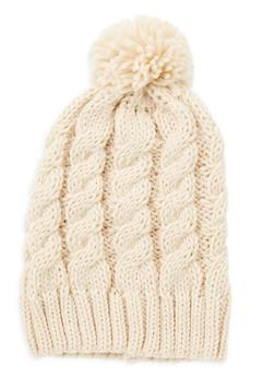 Knit Fringe Pom Pom Beanie - 3119067444712