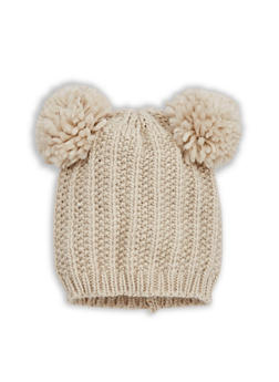 Double Pom Pom Knit Beanie - 3119067444713