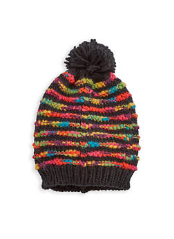 Multi Color Knit Pom Pom Beanie - 3119067444714