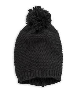 Solid Knit Pom Pom Beanie - 3119067444715