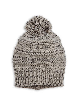 Two Tone Pom Pom Knit Beanie - 3119067444717