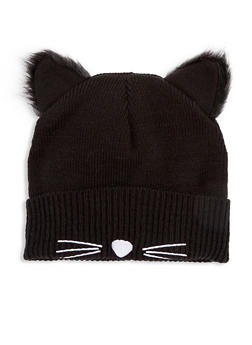 Knit Black Cat Beanie with Faux Fur Ears - 3119067444723