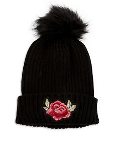 Rose Embroidered Knit Pom Pom Hat - 3119067444724
