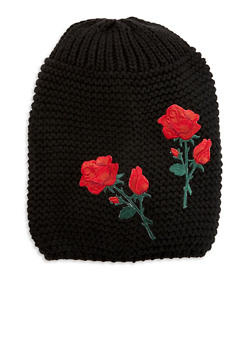 Rose Patch Knit Beanie - 3119067444725
