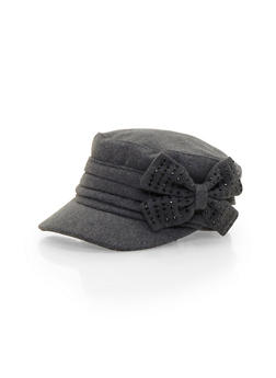 Knit Paperboy Hat with Studded Bow - GRAY - 3119067446040