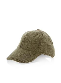 Faux Fur Baseball Hat - OLIVE - 3119067447118