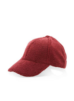 Faux Fur Baseball Hat - BURGUNDY - 3119067447118