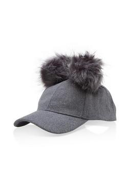 Wool Pom Pom Baseball Hat - GREY - 3119067447137