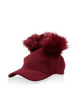 Wool Pom Pom Baseball Hat - BURGUNDY - 3119067447137