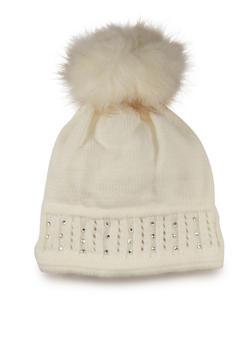 Studded Beanie Hat with Faux Fur Pom Pom - 3119072340067