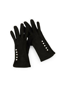 Faux Pearl Accented Gloves - 3121041650991