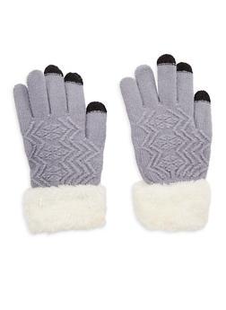 Fuzzy Cuffed Gloves - GREY - 3121042740001
