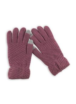 Zig Zag Knit Gloves - MAUVE - 3121042740011