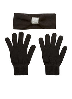 Rhinestone Headband and Gloves Set - BLACK - 3121042744444