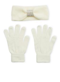 Rhinestone Headband and Gloves Set - 3121042744444