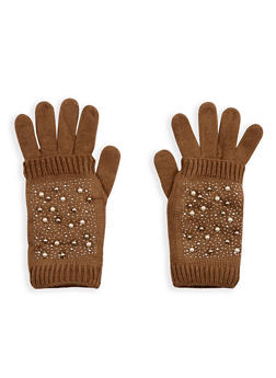 Faux Pearl Studded 2 Piece Gloves - 3121051441180