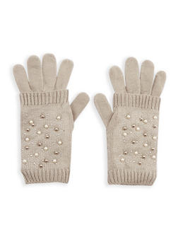 Faux Pearl Studded 2 Piece Gloves - GREY - 3121051441180