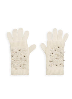 Faux Pearl Studded 2 Piece Gloves - OFF WHITE - 3121051441180