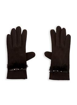 Faux Fur Trim Rhinestone Studded Gloves - BLACK - 3121051444113