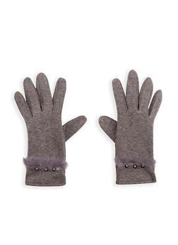 Faux Fur Trim Rhinestone Studded Gloves - GREY - 3121051444113