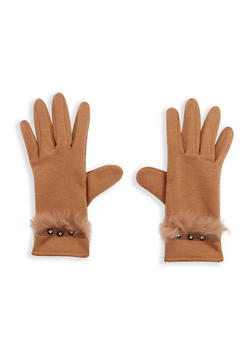 Faux Fur Trim Rhinestone Studded Gloves - 3121051444113