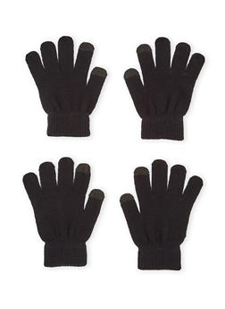 2 Pack of Knit Gloves with Contrast Tips - BLACK/BLACK - 3121067442601