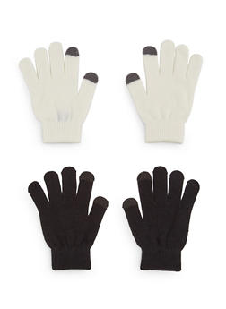 2 Pack of Knit Gloves with Contrast Tips - IVORY/BLACK - 3121067442601