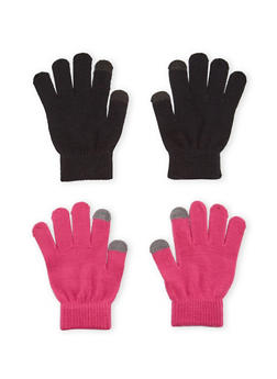 2 Pack of Knit Gloves with Contrast Tips - FUCHSIA/BLACK - 3121067442601