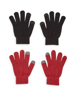 2 Pack of Knit Gloves with Contrast Tips - BURGUNDY/BLACK - 3121067442601