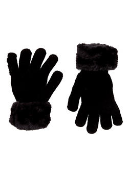 Knit Gloves with Faux Fur Cuffs - 3121067442603