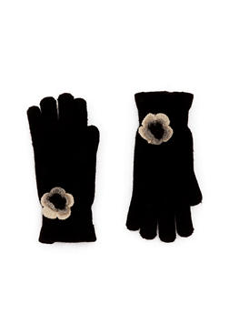 Knit Ruffled Gloves with Flower Accent - BLACK - 3121067442607