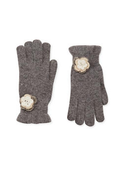 Knit Ruffled Gloves with Flower Accent - GRAY - 3121067442607
