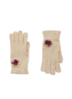 Knit Ruffled Gloves with Flower Accent - IVORY - 3121067442607