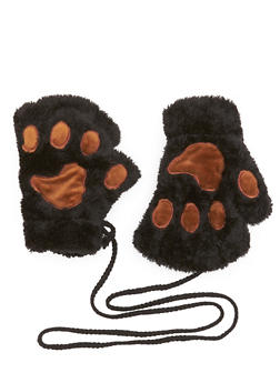 Plush Fingerless Gloves with Paw Patches - BLACK/BROWN - 3121067442609