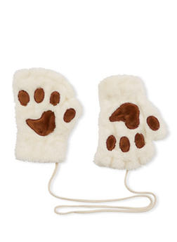 Plush Fingerless Gloves with Paw Patches - 3121067442609