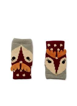 Knit Fingerless Gloves in Animal Design - GRAY - 3121067442610