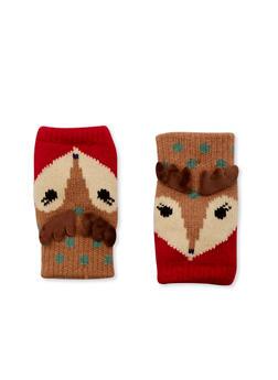 Knit Fingerless Gloves in Animal Design - RED - 3121067442610