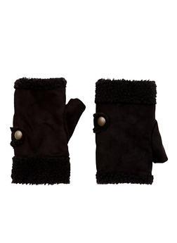 Fingerless Gloves in Faux Shearling - BLACK/BLACK - 3121067442611