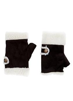 Fingerless Gloves in Faux Shearling - 3121067442611