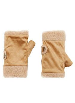 Fingerless Gloves in Faux Shearling - CAMEL - 3121067442611