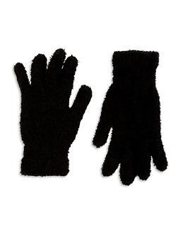 Fuzzy Knit Gloves - BLACK - 3121067442700